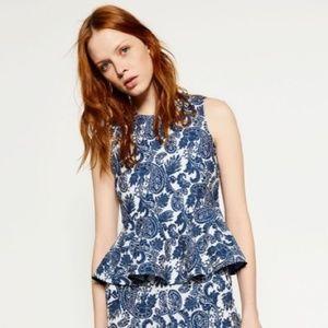 Zara jacquard paisley blue sleeveless peplum top